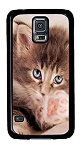 Diy Fashion Case for Samsung Galaxy S5,Black Plastic Case Shell for Samsung Galaxy S5 i9600 with Kitty Cat