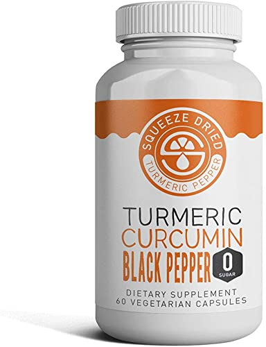 Squeeze Dried Turmeric Curcumin with Peperine Black Pepper 95 Curcuminoids. Best for Anti-Inflammatory Joint Relief, Pain Relief Anti Aging Supplement with Quick Absorption – 1 Bottle