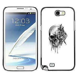 rígido protector delgado Shell Prima Delgada Casa Carcasa Funda Case Bandera Cover Armor para Samsung Note 2 N7100 /Rock Roll Death Metal Ink/ STRONG