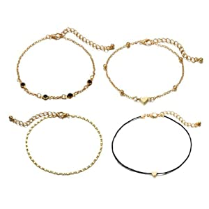 Bohemian Alloy Peach Heart Multi-layer Small Fresh Adjustable Beach Wind Anklet for Women Set