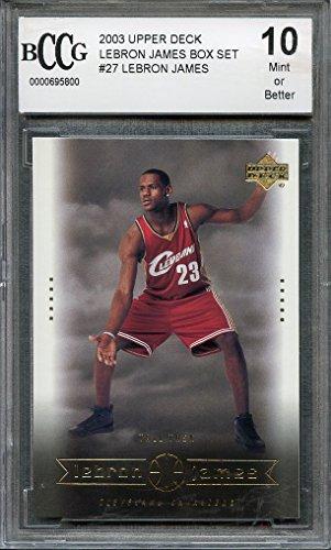 2003 upper deck lebron james box set #27 LEBRON JAMES rookie card BGS BCCG 10 Graded Card