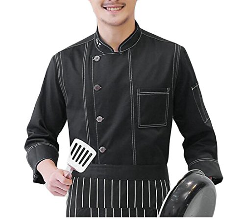 Jmwss QD Men Fashion Denim Single Breasted Long Sleeve Chef Jacket Kitchen Cook Coat Black (Denim Chef Jacket)