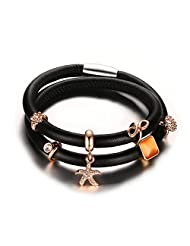Mealguet Jewelry Black Genuine Leather Double Wrap Charm Bracelet for Women