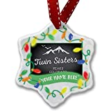Personalized Name Christmas Ornament, Mountains chalkboard Twin Sisters Peaks - Colorado NEONBLOND
