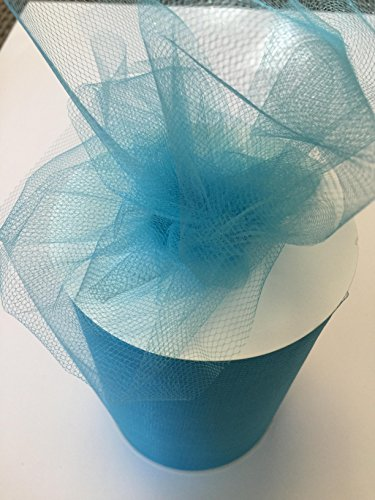 Tulle Fabric Spool/Roll 6 inch x 100 Yards (300 feet), 34 Colors Available, On Sale Now! (Turquoise)]()