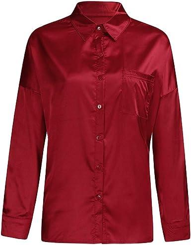 SEWORLD Camiseta Top de Manga Larga con Botones en Color Liso para Mujer Cárdigan Blusa(Rojo, Azul, Verde,S, M, L, XL): Amazon.es: Ropa y accesorios