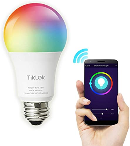 Smart WiFi LED Light Bulbs Compatible with Alexa Google Home, Siri and Echo No Hub Required , TIKLOK RGBCW Multi-Color, Warm to Cool White Dimmable 7.5W E26 A19 Color Changing Bulb 1 Pack
