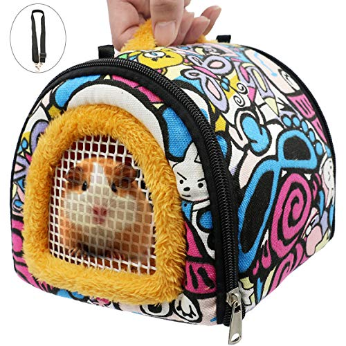 Small Animal Carrier Bag Small Guinea Pig Hedgehog Carriers with Detachable Strap Double Zipper Travel Pets Small Guinea Pig Chinchillas Hamster Rat Hedgehog Carriers Sling Handbag for Small Animals (Carrier Hamster Pet For)