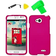 Phone Case Cover Cell Phone Accessory + Extreme Band + Stylus Pen + Yellow Pry Tool for MetroPCS LG Optimus L70 D325 D320N D325 MS323 Boost mobile LG Realm LS620 LG Optimus Exceed 2 VS450PP (Hard Pink)