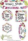Kappa Delta Sorority Water Color Flowers Floral Sticker Decal Laptop Water Bottle Car KD (Full Sheet)