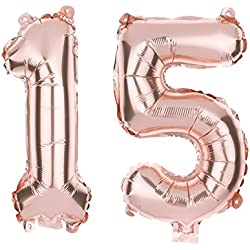 Ella Celebration 15 Number Balloons for 15th Birthday Party or Quinceanera, 40 Inch Balloon Numbers (Rose Gold)