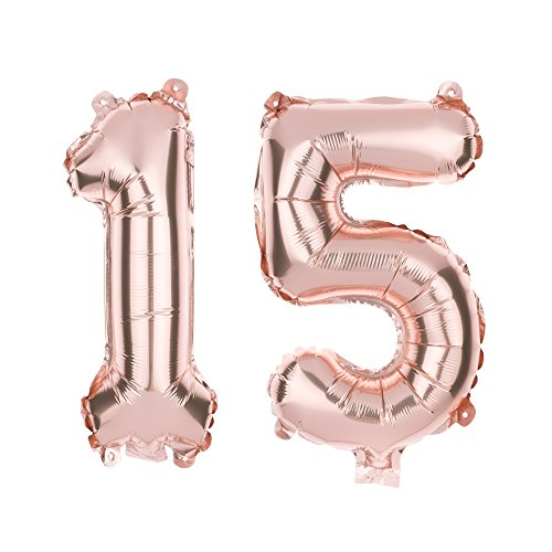 Ella Celebration 15 Number Balloons for 15th Birthday Party or Quinceanera, 40 Inch Balloon Numbers (Rose Gold) (Quinceanera Celebration)