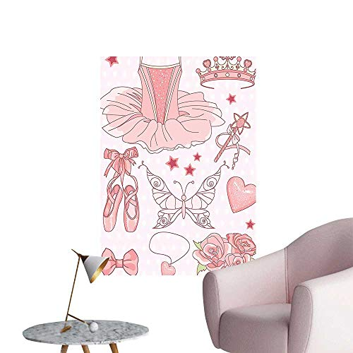 Vinyl Wall Stickers Set of Princess Ballerina Accessories Classic Costume Shoes Tiara Roses I Perfectly Decorated,16