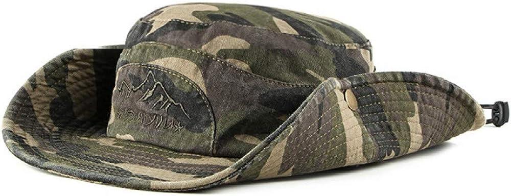 ALIXIN-Caza en la Jungla Escalada al Sombrero de Vaquero de Camuflaje,Sombrero ala Ancha de Verano Protección UV para la Playa Sombrero a Prueba de Ducha,Sombrero Pescador de Transpirable.