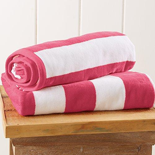 (Great Bay Home 2-Pack 100% Cotton Plush Cabana Stripe Velour Beach Towel (30x60) Brand. (Pink))