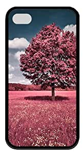 IMARTCASE iPhone 4S Case, Beautiful Pink Flower Field Durable Case Cover for Apple iPhone 4S/5 TPU Black