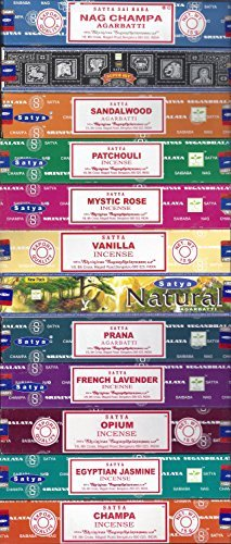 Set of 12 Nag Champa, Super Hit, Sandalwood, Patchouli, Mystic Rose, Vanilla, Prana, Natural, French Lavender, Opium, Egyptian Jasmine, Champa by Satya - incensecentral.us