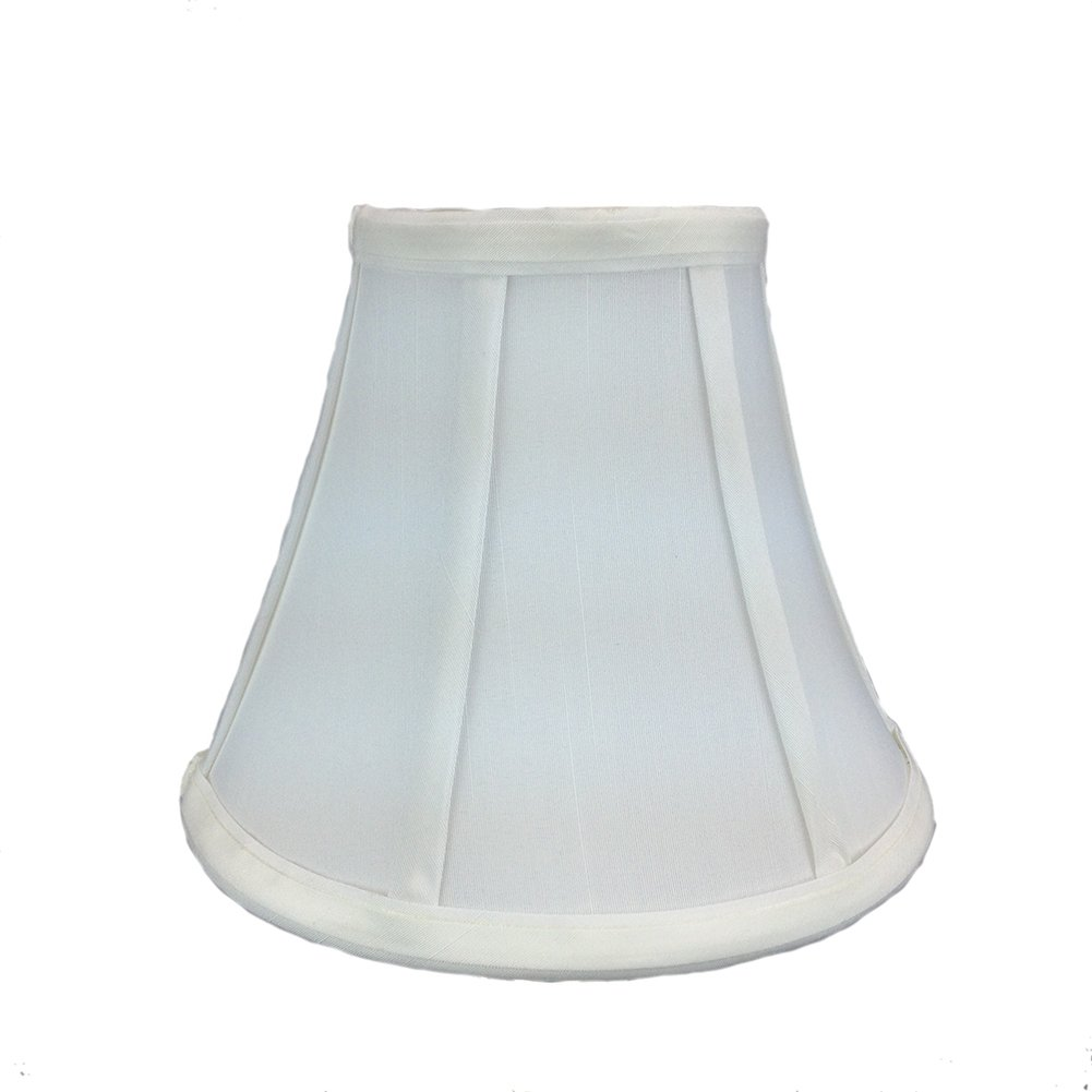 Home Concept 4x8x6 White Bell Shantung Shade with Brass Spider Fitter By Home Concept - Perfect for chandeliers, foyer lights, and wall sconces -Small, White