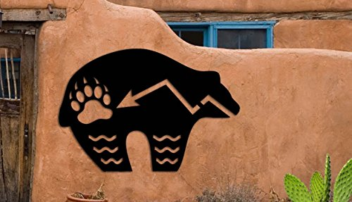 Bear Symbol - Zuni Bear Southwest Design - Home & Garden - Large (22 w x 14.75 h) Metal Art - Indoor - Outdoor Hand Made USA
