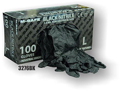 (20 Boxes) Majestic POWDER FREE DISPOSIBLE BLACK NITRILE GLOVES, 2X LARGE - 2X LARGE(3276BK/12) by Majestic Athletic