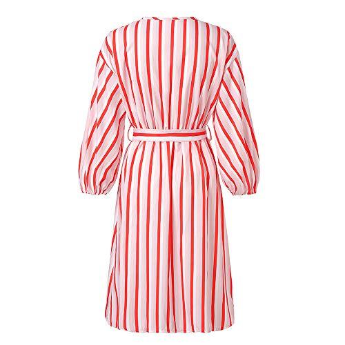 FIRSS Damen Laterne Ärmel Blusenkleid | Streifen Minikleid | Geschnallt Strandkleid | V Ausschnitt Kleider | Asymmetrisch Partykleider | Mode Elegante Langarmshirt Abendkleider