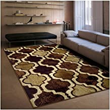 Superior Modern Viking Collection Area Rug, 10mm Pile Height with Jute Backing, Chic Textured Geometric Trellis Pattern, Anti-Static, Water-Repellent Rugs - Coffee, 5' x 8' Rug