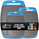 Gorilla Grip Original Oversized Cutting Board, 3 Piece, Perfect for the Dishwasher, Juice Grooves, Larger Thicker Boards, Easy Grip Handle, Non Porous, Extra Large, Set of 3, Gray, Red, Green