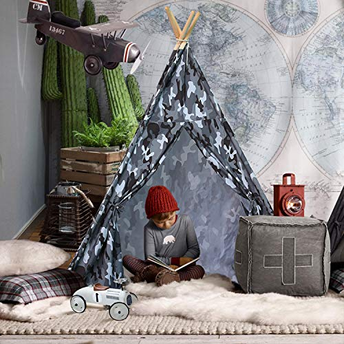 American Teepee Native Indian (UKadou Unique Teepee Tent Kids, Children Play Tent Teepee Baby Toddlers, Camo Tent Tipi Boys Indoor Outdoor, Tee Pee Tepee Kids)