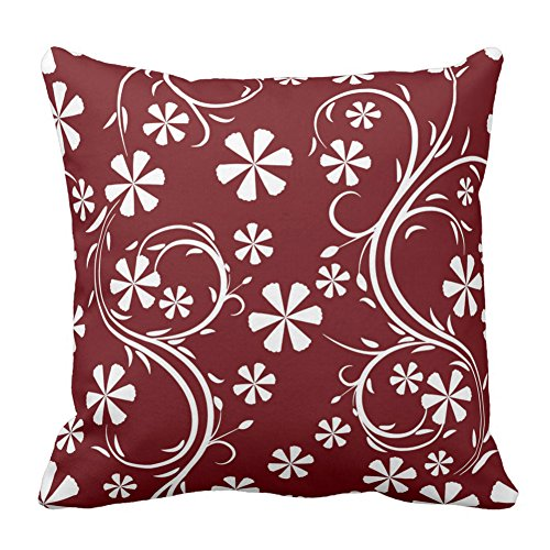 (Floral Design Vermilion and White Flower Pattern Floral Printed Cushion Cover Throw Pillow Case Zipper Pillowcase Decorative, 20X20 Inch)