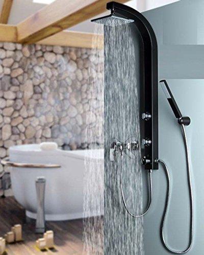 Duschsäule Duschsystem Duschpaneel Brausepaneel Komplettdusche Schwarz große Regendusche mit 2 Massagedüsen, aus hochwertigem Kunststoff Handbrause Duschkopf Duscharmatur Wandmontage Anschluss an Brauseschlauch 081B