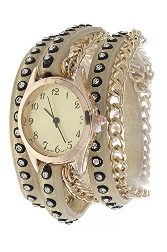 THE JEWEL RACK CRYSTAL STUDDED CHAIN ACCENT WRAP WATCH (Replica Bling Watches)