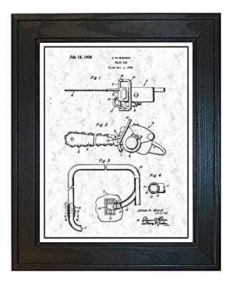 Chain Saw Patent Art Print with a Border in a Solid Pine Wood Frame M14277