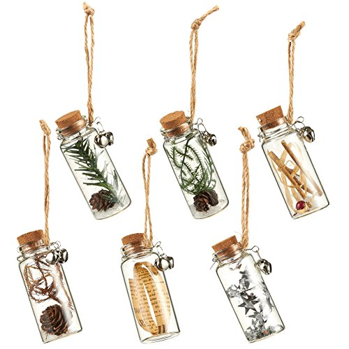 6-Pack of Christmas Tree Decorations - Hanging Glass Decorations with Cork Lids, Ornate Christmas Ornaments with Jute Strings, Festive Embellishments, 6 Assorted Designs - 1.18 x 3 x 1.18 Inches