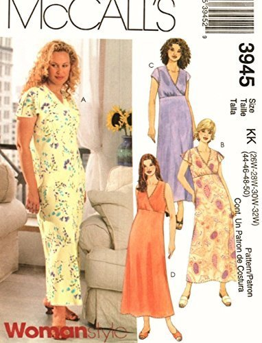 Mccalls 3945 Sewing Pattern for Empire Waist, Cross-over Bodice Dress Options ()