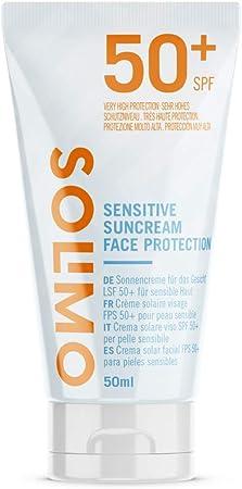 Marca Amazon - Solimo - SUN - Crema solar facial para pieles sensibles FPS 50+, con vitamin E, antioxidante (4x50 ml)