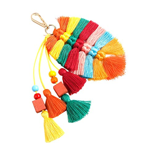 Cathy Clara Bohemian Creative Multicolor Fringed Leaves Keychain Hanging Men and Women Jewelry Gift Accessories Keychains for Women Girl