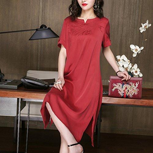 Abendkleid Kleider Seide E Damen Gestreift Kleid girl Rot Midi Übergröße Cocktail S255 U0vzqxwU