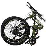 Eurobike 26″ Full Suspension Mountain Bike 21 Speed Folding Bicycle Men or Women MTB