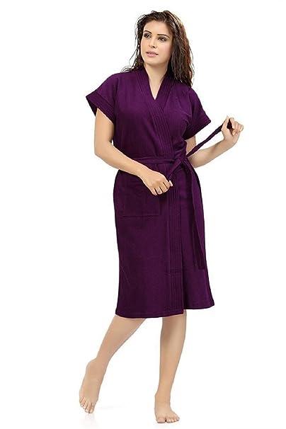Elevanto Premium Collection Half Sleeve Terry Cotton Bathrobe-Free Size(Purple)