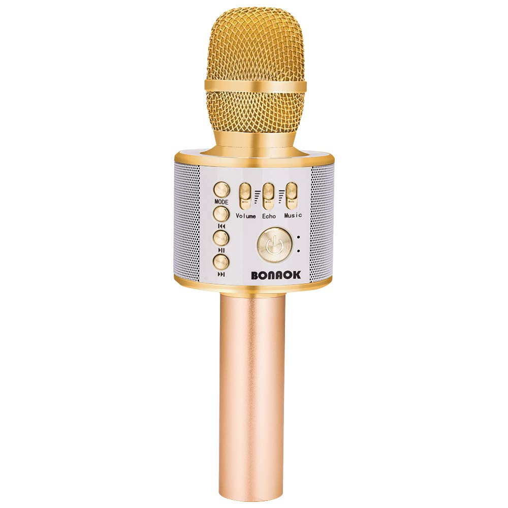 BONAOK Wireless Bluetooth Karaoke Microphone,3-in-1 Portable Handheld karaoke Mic Easter Gift Home Party Birthday Speaker Machine for iPhone/Android/iPad/Sony, PC and All Smartphone(Gold)
