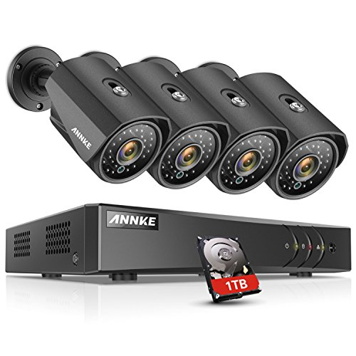 ANNKE H.264+ Security Camera System 8CH 1080P Lite DVR and (4) Weatherproof Cameras, 1TB DVR Storage, Email Alert with Snapshots, Enable H.264+ to Record Longer