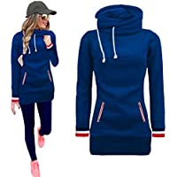 Kintaz Womens High Neck Collar Fleece Pullover Long Loose Fit Tunic Hoodies Sweatshirts Dress Sweater Coat with Pockets (4 Colors, Plus size available) (Blue, M(US Women Size))