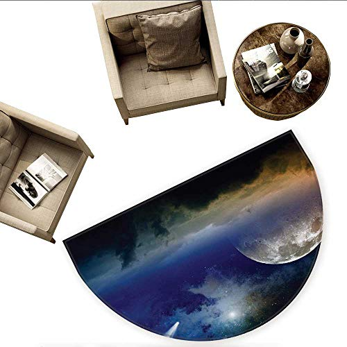 Outer Space Half Round Door mats Vibrant Clouds Full Moon Rise and Comet in Dark Sky Celestial Horizon Twilight Bathroom Mat H 55.1