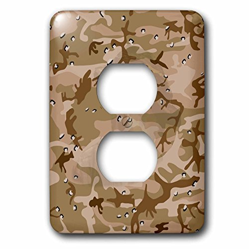 Sandy Mertens Camouflage - Desert Gulf War Camouflage with Hidden Face - Light Switch Covers - 2 plug outlet cover (lsp_60447_6)