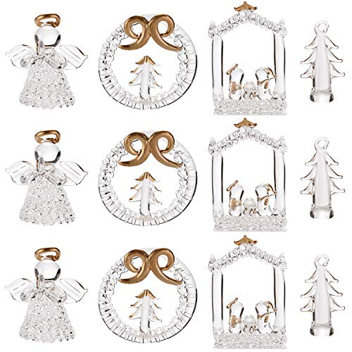 Sea Team Assorted Mini Sized Clear Glass Ornaments for Christmas Tree Decorations, 1.57-2.36 inches, Set of 12 (Gold)