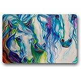 """Abstract Watercolor Horse Art Non-woven Fabric Door Mat Indoor/Outdoor/Bathroom Doormat Rugs for Home/Office/Bedroom 23.6""""(L) x 15.7""""(W)"""
