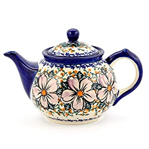 Polish Pottery, Handpainted and Handcrafted Ceramic Teapot 1.0L ― Violet Flowers Unique Pattern (U275)