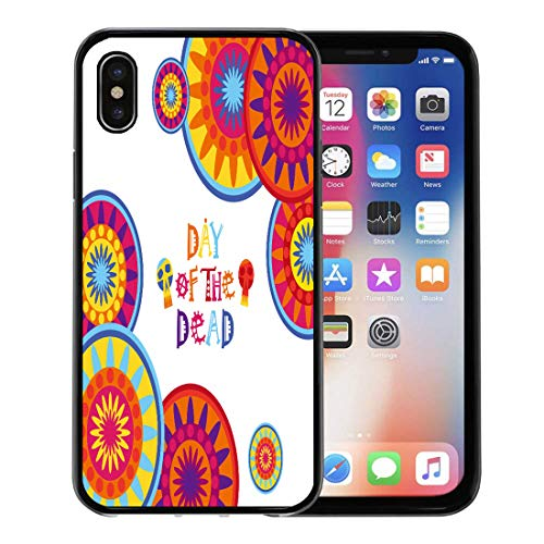 Semtomn Phone Case for iPhone Xs case,Colorful Hispanic Day of Dead Traditional Mexican Halloween Dia De Los Muertos Holiday Party Flat Skull for iPhone X Case,Rubber Border Protective -