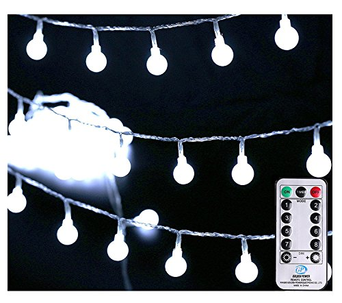 42' Tent ([Remote & Timer] 33Ft Globe String Lights 100LED Fairy Twinkle String Lights with Remote 8 Modes Controller & UL Listed Adaptor Plug-for Party/Garden/Wedding Decor, Pure White)