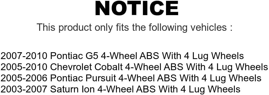 Front Wheel Bearing And Hub Assembly Pair For Chevrolet Cobalt Saturn Ion Pontiac G5 Pursuit